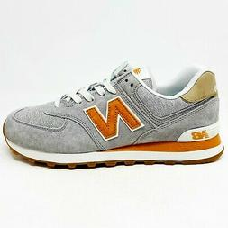 New Balance 574 Classics Grey Orange Mens Lifestyle Sneakers