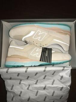 New Balance 997 Beige Teal Suede Made in USA lifestyle Sneak