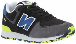 New Balance Boys 574v1 Lace-Up Sneaker,, Black/Royal Blu,  S