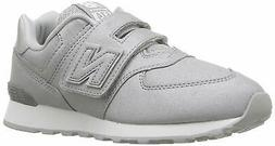 New Balance Kids' 574v1 Hook and Loop Sneaker, Silver,  Size
