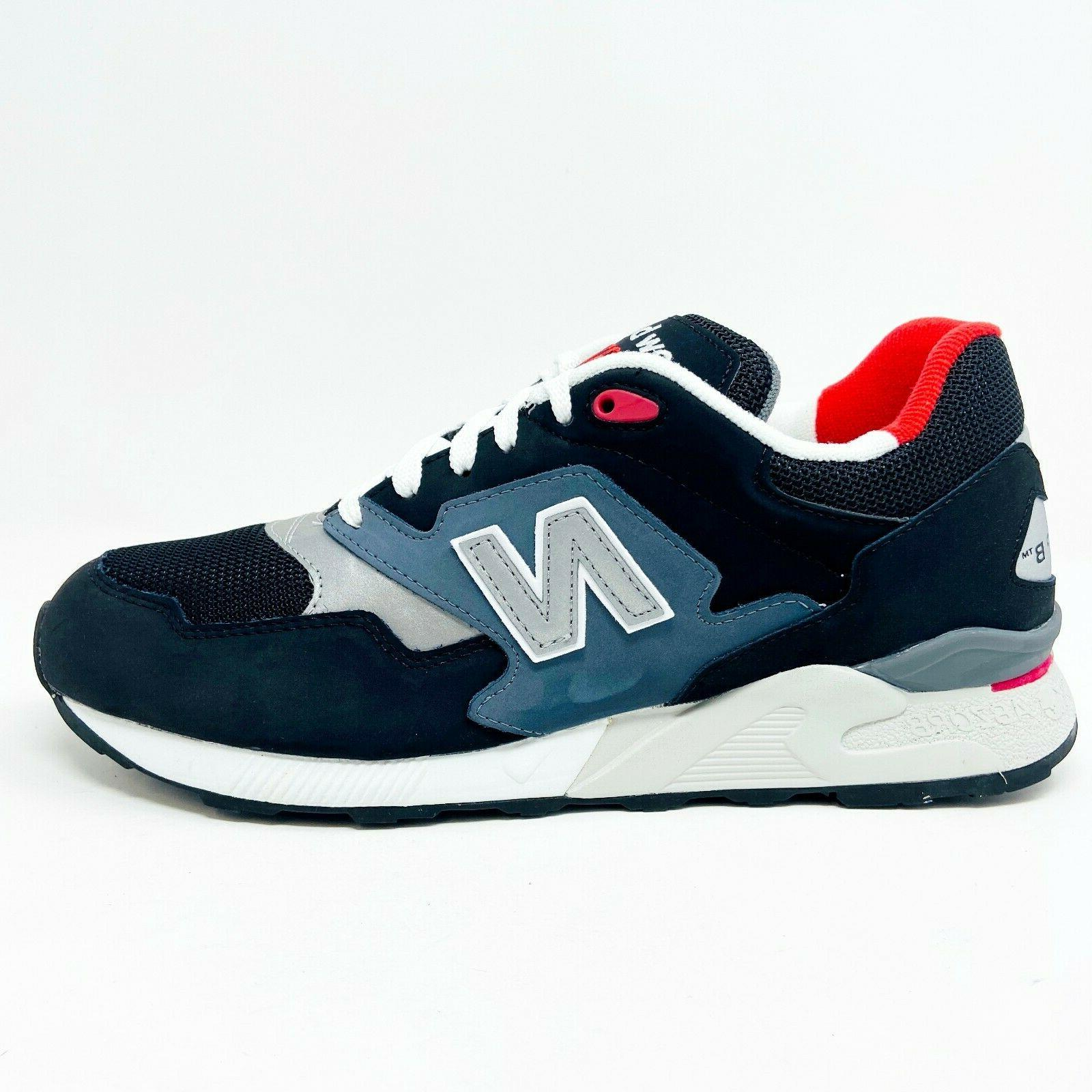 New Balance 878 Classics Leather Gray Red Mens Sneakers