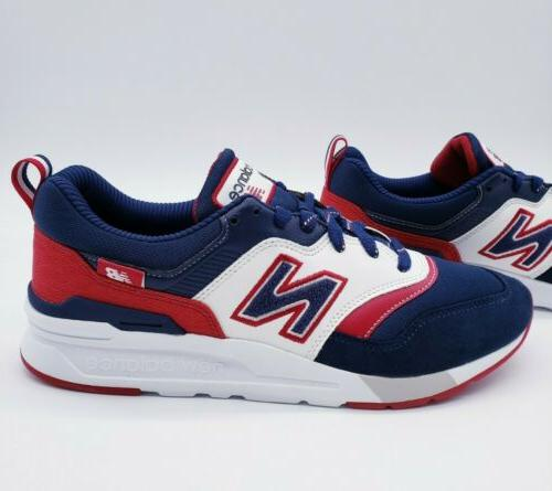997 navy blue white red running shoes