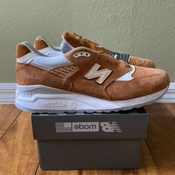 """NEW BALANCE M998TCC """"MADE IN USA"""" Brown Curry White Sneakers"""