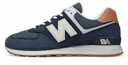 New Balance Men's 574 Shoes Navy with Brown