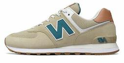 New Balance Men's 574 Shoes Tan with Brown