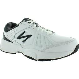 New Balance Mens White Faux Leather Running Shoes Sneakers 1